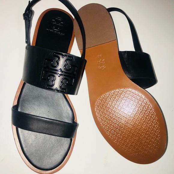 599f2b0e453 Tory Burch Black Powder coated Leather Sandal 9